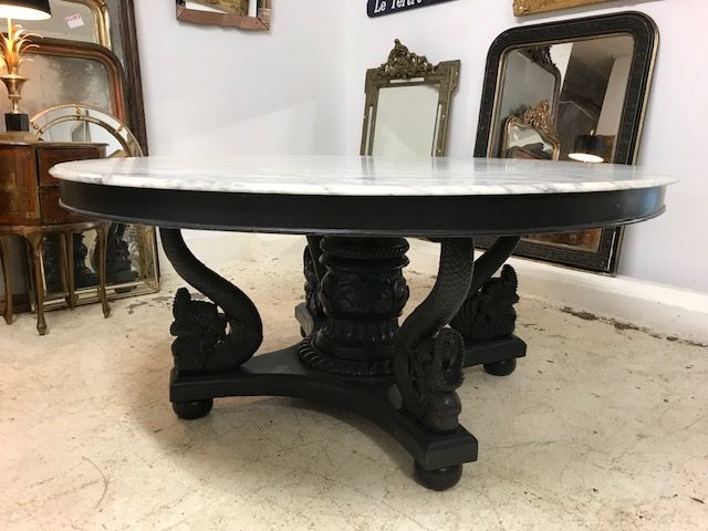Sold Impressive French Marble Top Dining Table Fs111